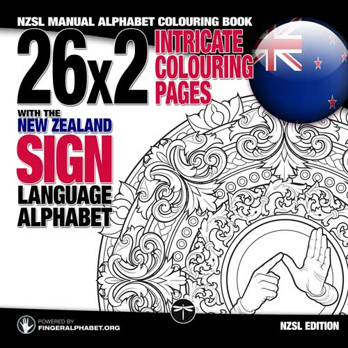 NZSL Manual Alphabet Colouring Book