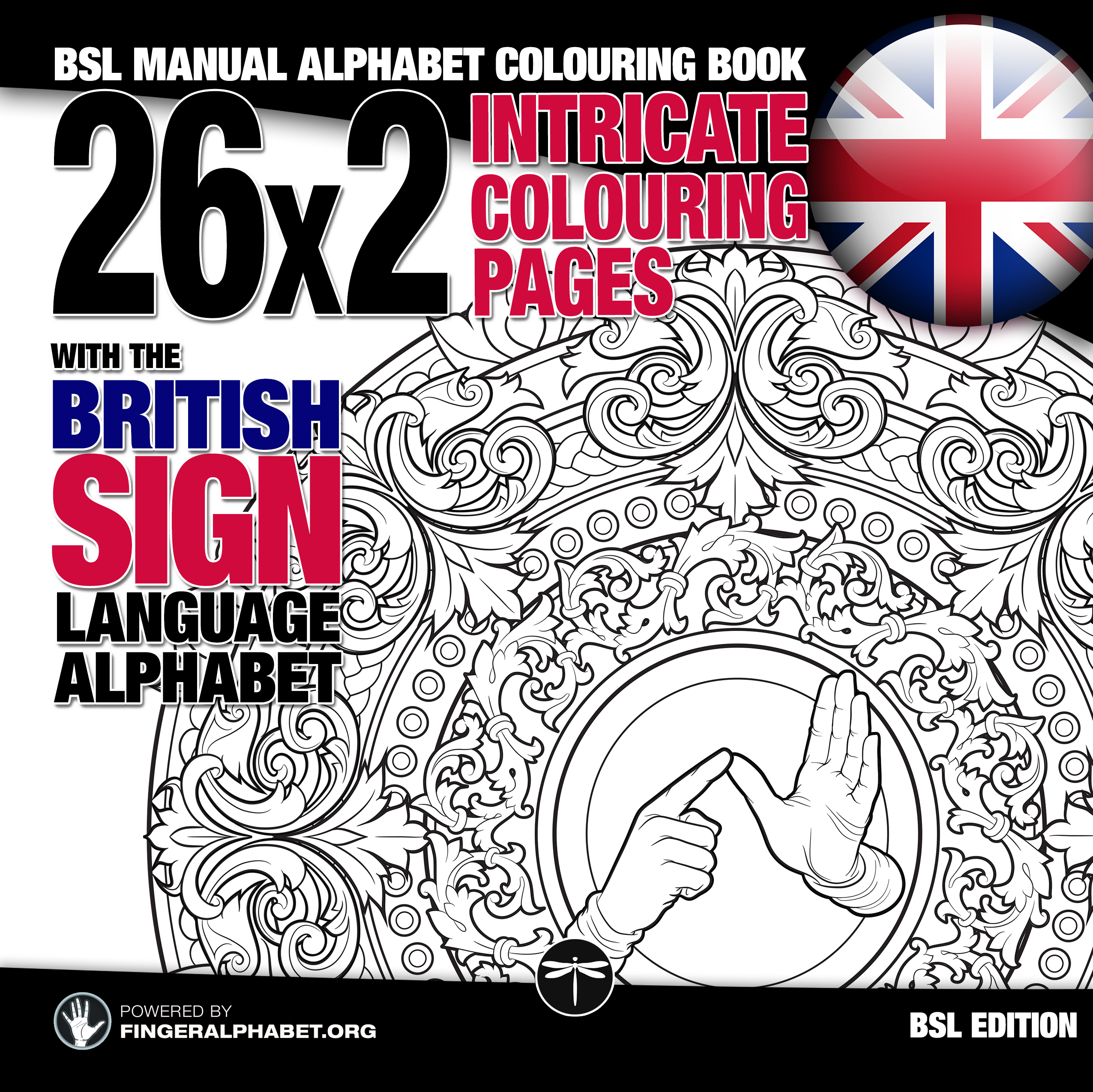 British Sign Language Alphabet Coloring book